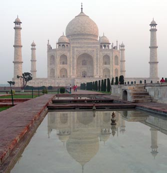 The Taj Mahal as viewed from gardens and main entrance